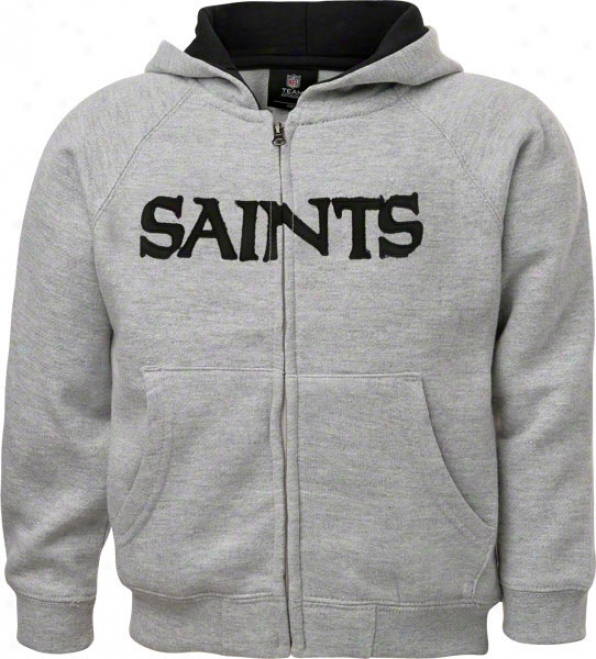 Repaired Orleans Saints Toddler Grey Sportsman Full-zip Fleece Hooded Sweatshirt