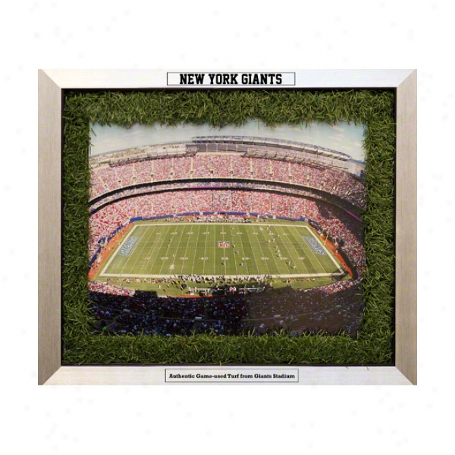 New York Giants 20x24 Framed Collage With Game Used Turf Matting & Nameplate