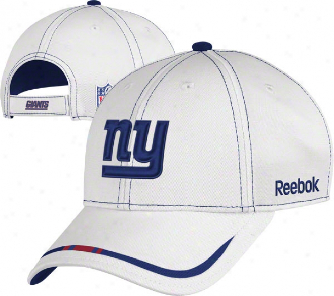 New York Giants Adjustable Hat: 2011 Coaches Sideline White Pique Structured Hat
