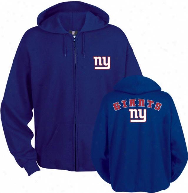 New York Giants Blue Touchback Ii Full Zip Hooded Sweatshirt