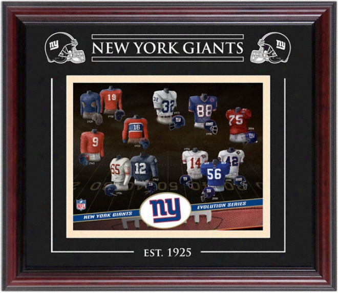 New York Giants - Evolution - Framed 8x10 Collage With Lzser Etching
