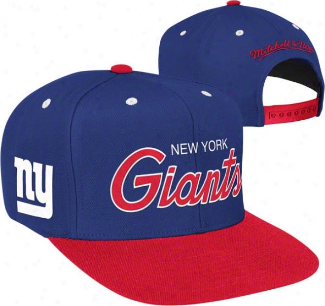 New York Giants Mitchell & Ness Throwback Script 2 Tone Adjustable Snapback Hat