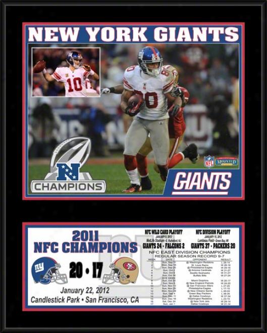 Nes York Giants Sublimated 12x15 Plaque  Details: 2011 Nfc Champions