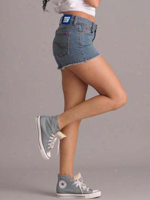 New York Giants Women's Medium Wash Tight End Denim Shorts