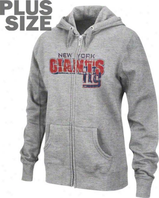 New York Giants Women's Plus Sizing Football Classic Iii Full Zip Hooded Sweatshirt