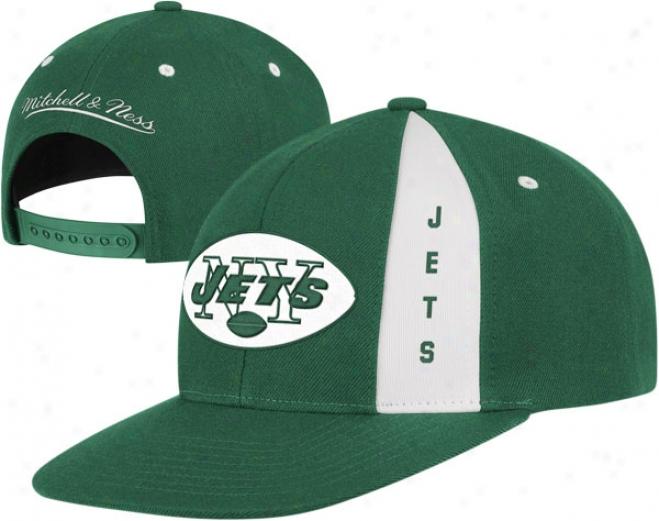 New York Jets Green Mitchell & Ness Throwbacks Panel Down Snapback Adjustable Hat