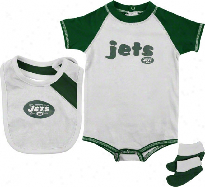 New York Jets Infant Creeper Bib And Bootie Set