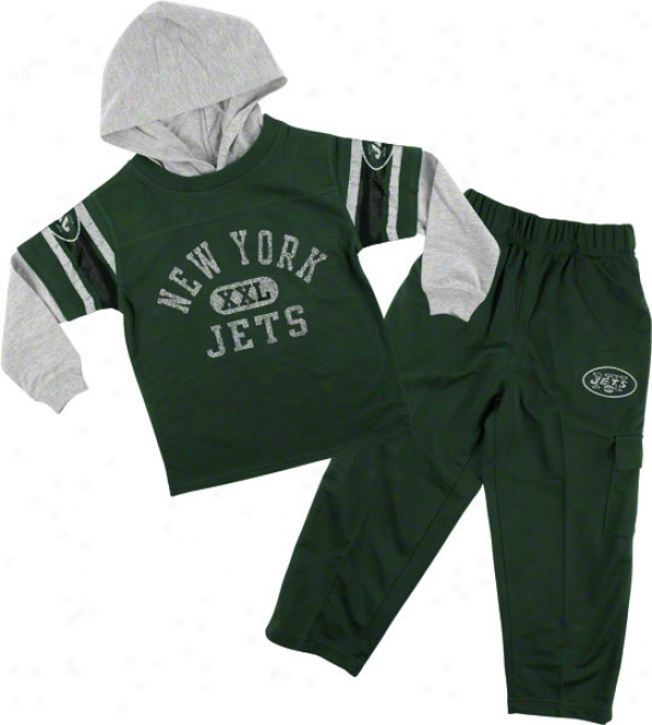 Unaccustomed York Jets Infant Faaux Layered Jersey And Pant Set
