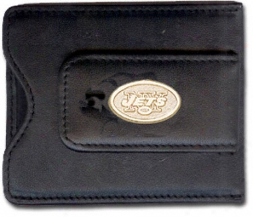 New York Jets Leather Gold Plated Money Clip With Credit Card Holder