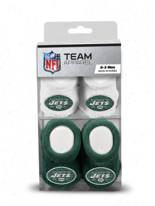 New York Jets Newborn 0-3 Months Green And WhiteN fl Booties 2 Pack