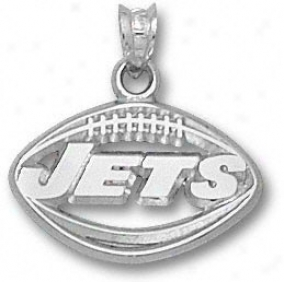 New York Jets Sterling Silver ''jets'' Football Pendant