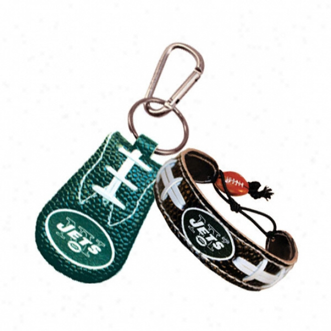 New York Jets Team Color Bracelet & Keychain Set