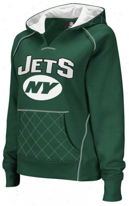 New York Jets Women's Quilted Green Pullover Hooded Sweatshirt