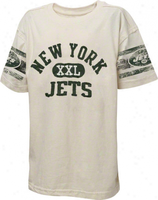 New York Jets Youth Xxl Graphic Vintage Paper White T-shirt