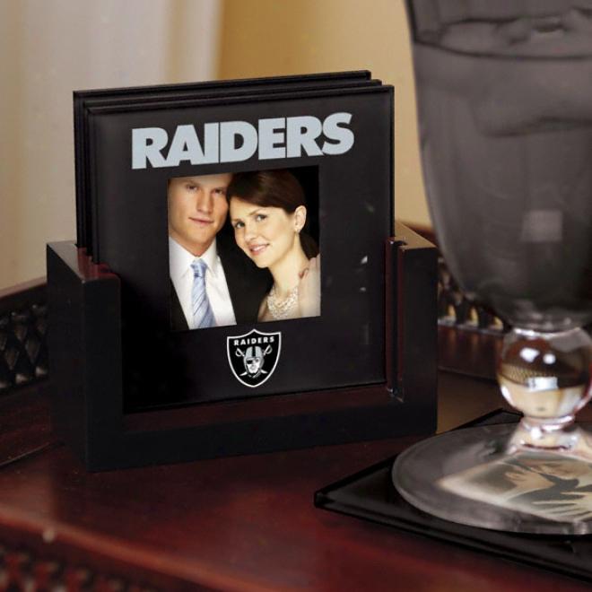 Oakland Raiders Art Glass Photo Coaster Set