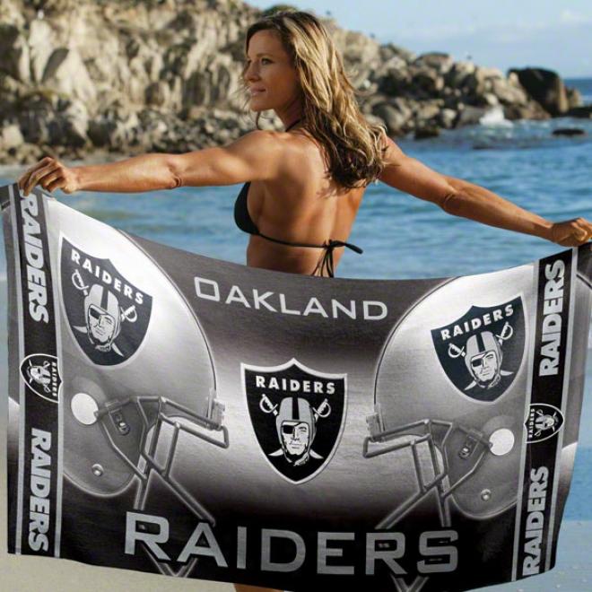 Oakland Raiders Beach Towel: 30x60 Fiber Reactive