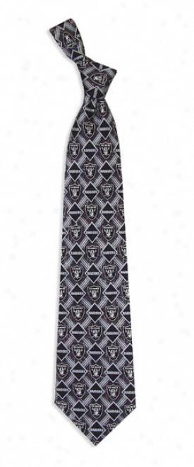 Oakland Raiders Pattern Silk Tie