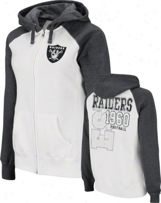 Oakland Raiders Women's Sport Princess White Raglan Full-zip Hooded Sweatshirt