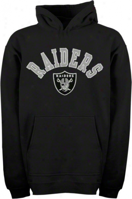 Oakland Raiders Youth Black Arched Team Name W/logo Hooded Sweatshirt