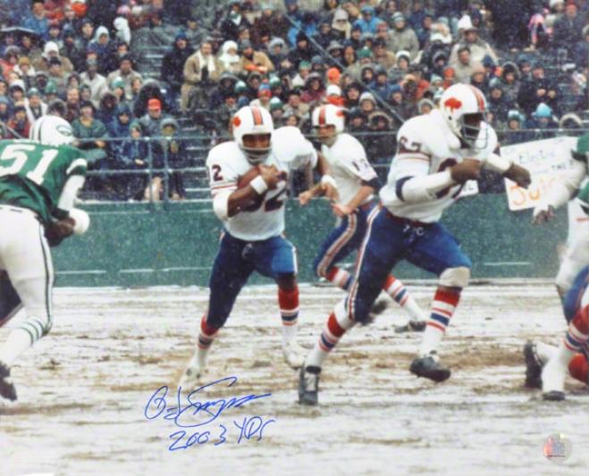 O.j. Simpson Buffalo Bills -2003 Record Breaker- 16x20 Autographed Photograph