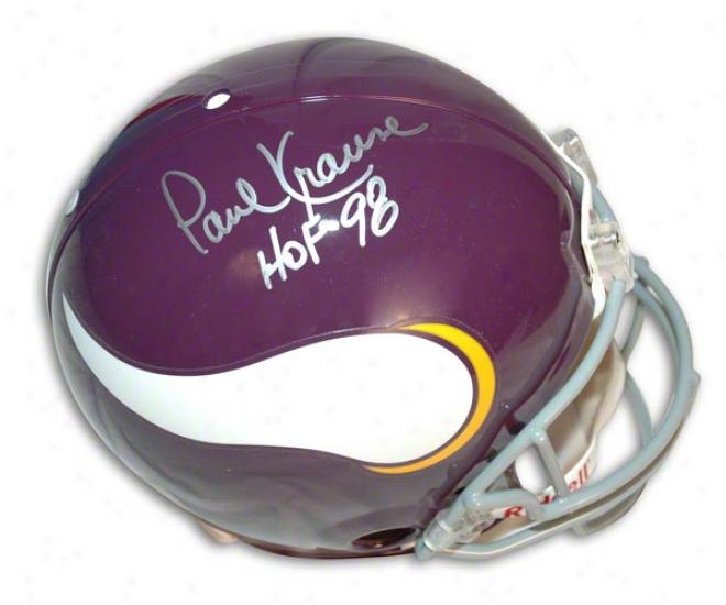 Paul Krause Autographed Pro-line Helmet  Details: Minnesota Vikings, Throwback, With &quothof '98&qyot Inscription, Authentic Riddell Helmet
