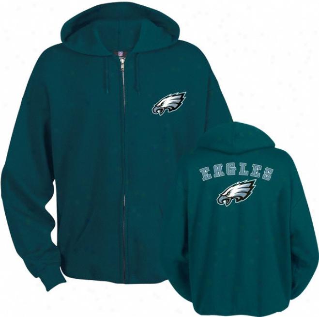Philadelphia Eagles Green Touchback Ii Full Zi0 Hooded Sweatshirt
