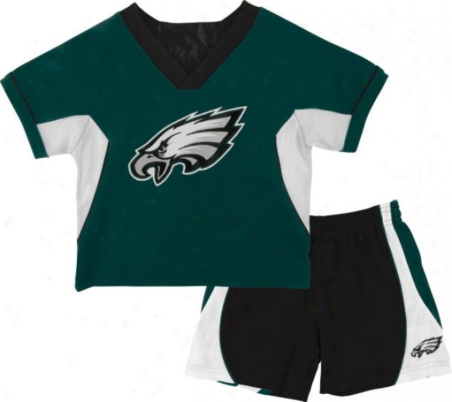 Philadelphia Eagles Kid's 4-7 Raglan Crew Shirt nAd Shorts Combo Pack