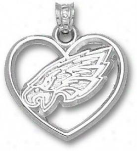 Philadelphia Eagles Sterling Silver Eagle Seat of the brain Logo Heart Pendant