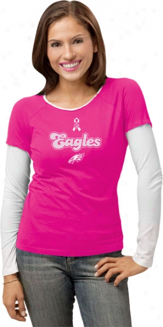 Phjladelpjia Eagles Women's Pink Breast Cancer Bc Ribbon Script Long Sleeve Layered Tissue T-shirt
