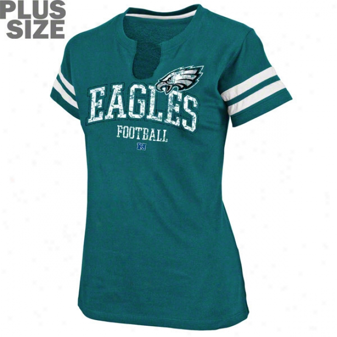 Philadelphia Eagles Women's More Size Go For Two Split Neck Top