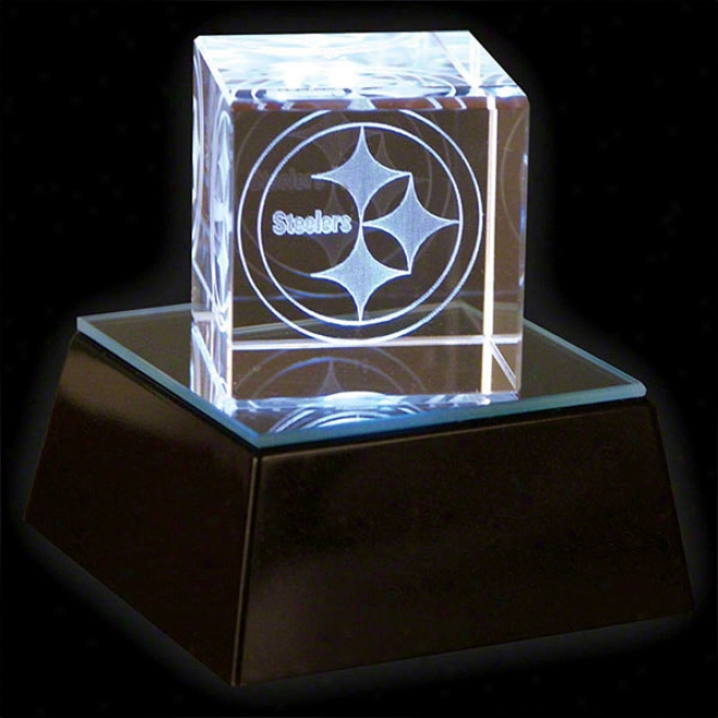 Pittzburgh Steelers 3&quot Prismatic Cube With Base