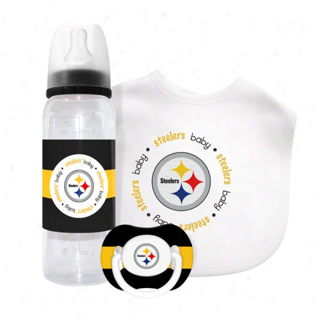 Pittsburgh Steelers Baby Gift Set: Kicloff Collection 3-piece Baby Feeding Set