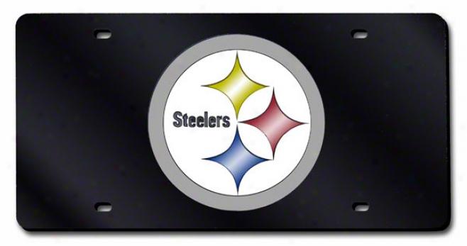 Pittsburgh Steelers Black License Plate Laser Tag
