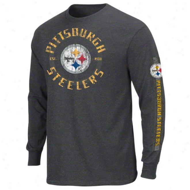 Pittsburgh Steelers Charcoal Gridiron Tough Iii Long Sleeve T-shirt