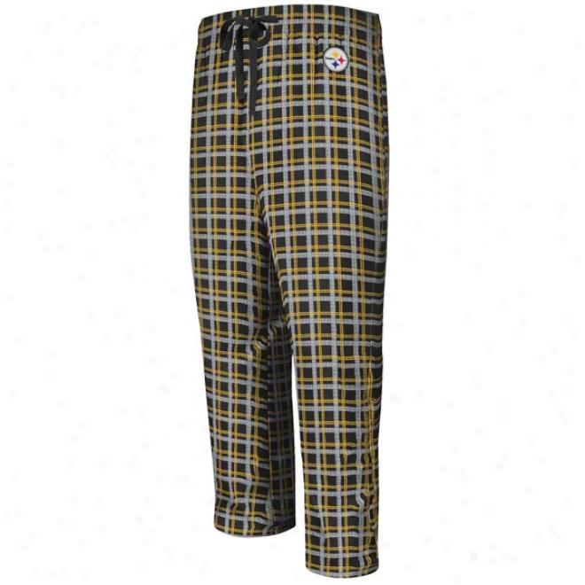 Pittsburgh Steelers Crossbar Black Flannel Sleep Pants