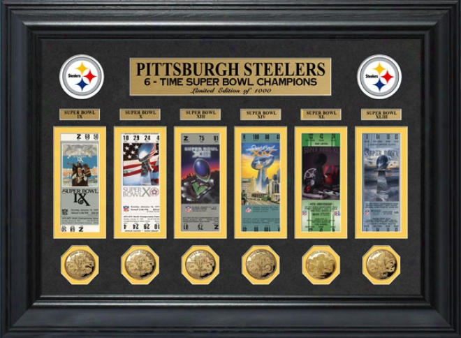Pittsburgh Steelers Framed Super Bowl Ticket And Game Coin Collection