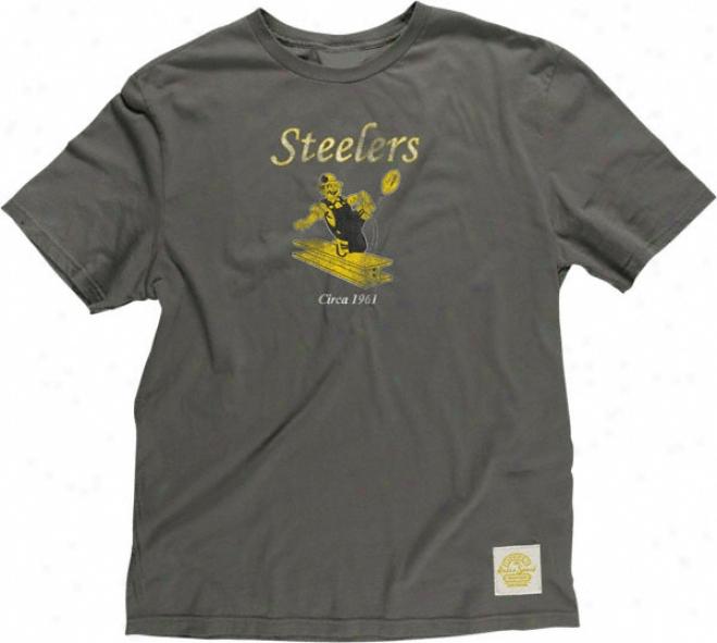 Pittsburgh Steelers Retro Sport Retro Logo Black Suler Soft T-shirt