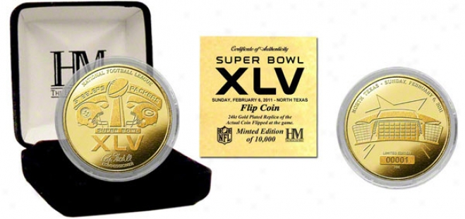 Pittsburgh Steelers Vs. Green Bay Packers Superr Bowl Xlv 24kt Gold Corner