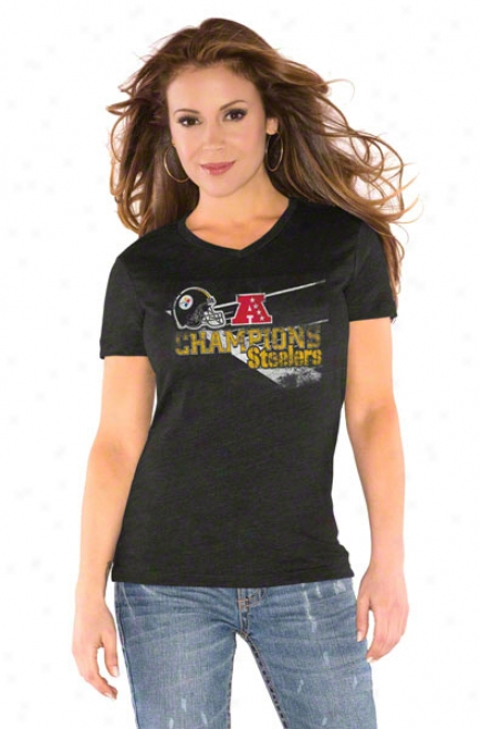 Pittsburgh Steelers Women's Black 2010 Afc Champions Tri Blend V Neck T-shirt- By Alyssa Milano