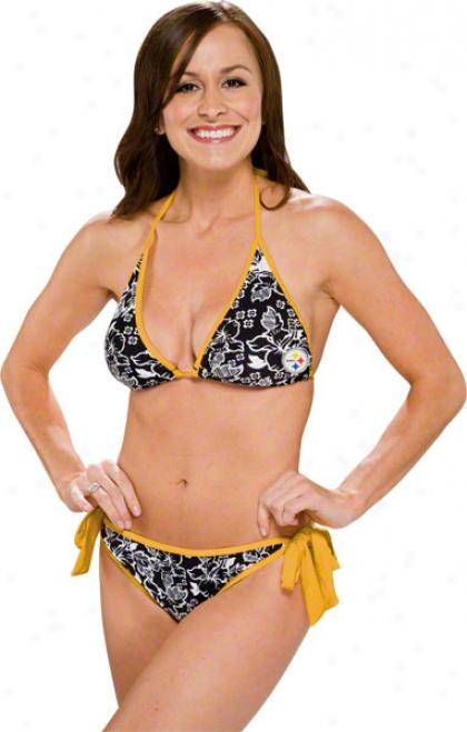 Pittsburgh Steelers Women'd Floral String Bikini
