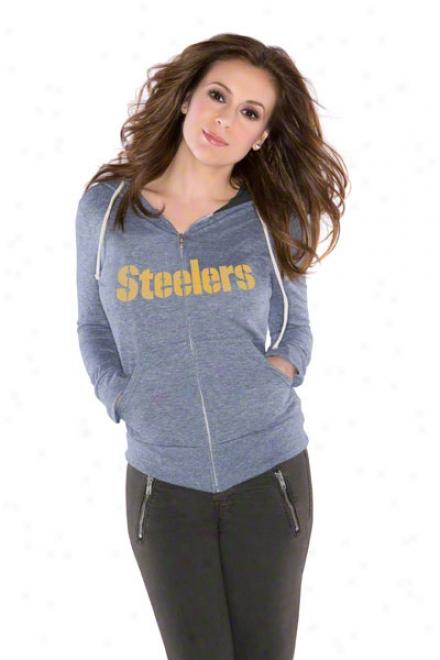 Pittsburgh Steelers Women's Tried And Tdue Tri-blend Full-zip Hoodie - By Alyssa Milano
