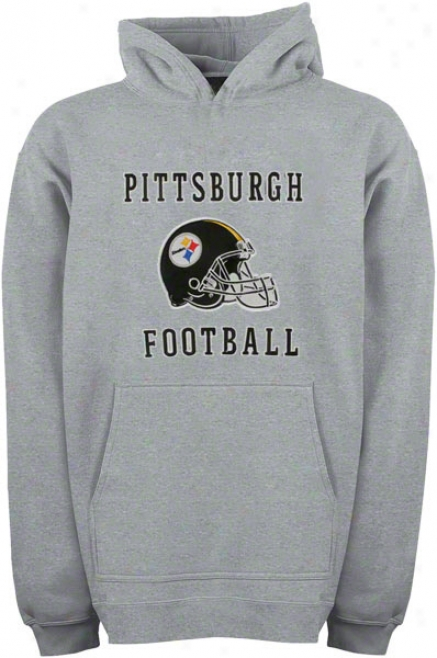 Pittsburgh Steelers Youth Grey Helmet Logo Applique Hooded Sweatshirt