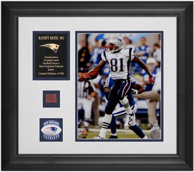 Randy Moss New England Patriots Framed 8x10 Photograph With Game Used Football Piece And Descriptive Plate