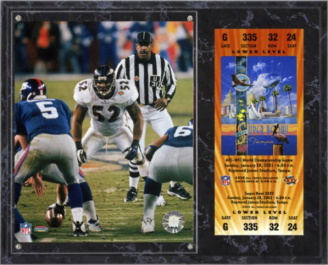 Ray Lewis Sublimated 12x15 Flat plate of metal  Details: Baltimore Ravens, Super Bowl Xxxv, With Autograph copy Ticket
