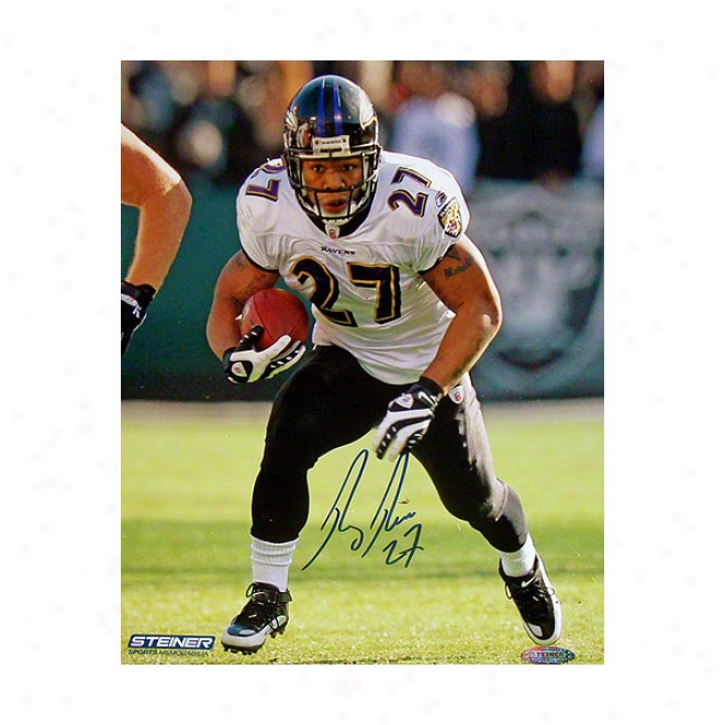 Ray Rice Baltimore Ravens White Jersey Running Ball Autographed 8x10 Photograph