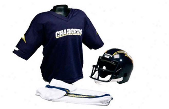 San Diego Cgargers Kids Medium Nfl Helmet & Uniform Set