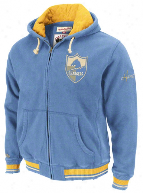 San Diego Chargers Mitchell & Ness Powder Azure Standing Space Full Zip Cucullate Jacket