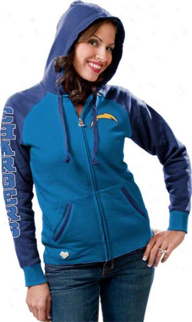 San Diego Chargers Women's Window Blue Letterman Full-zip Hooded Sweatshirt