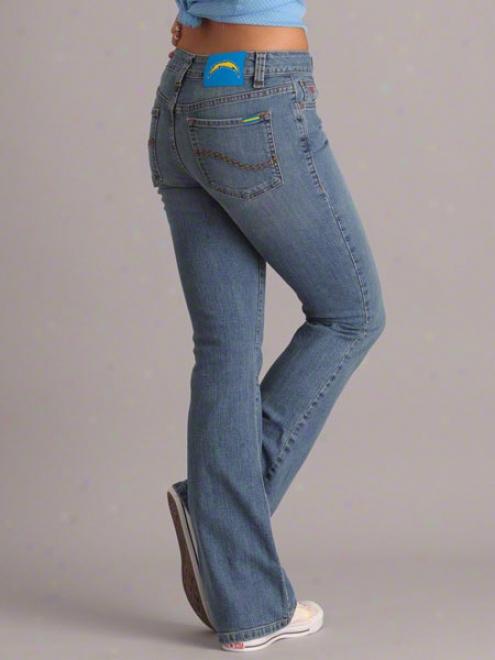 San Diego Chargers Women's Medium Wash Cheerleader Boot Cut Denim Jeans
