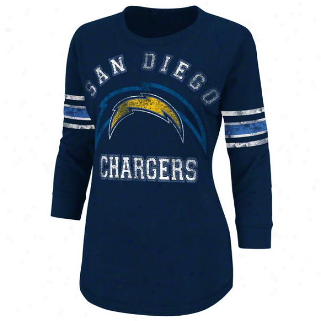 San Diego Chargers Women's Victory Is Sweet Naavy 3/4 Sleeve Top